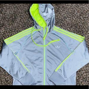 Adidas Women's Silver/Green Full-Zip Hoodie - S